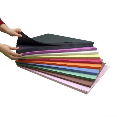 School Sugar Paper Stacks - 1000 x A2 Assorted / 250 x A2 Black [Pack 1]