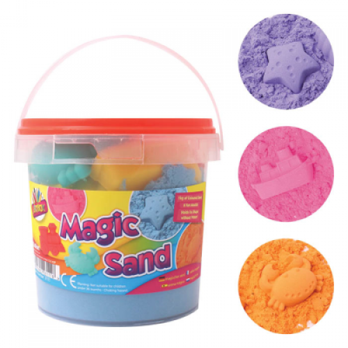 School Magic Sand 1kg (Random Single Colour) + 6 Moulds [Pack 1]