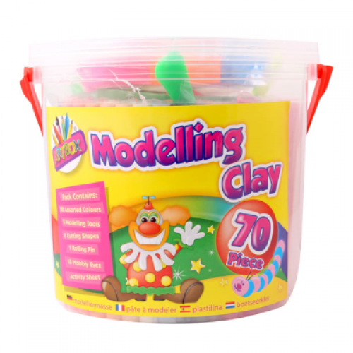 School 70 Piece Modelling Material Tub (50 Colours) + Tools [Pack 1]