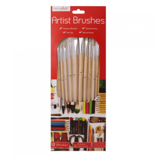 School Artist Paint Brushes Natural Bristle Flat Tip Assorted Sizes [Pack 12]