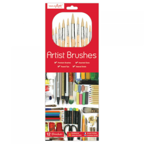 School Artist Paint Brushes Natural Bristle Round Tip Assorted Sizes [Pack 12]
