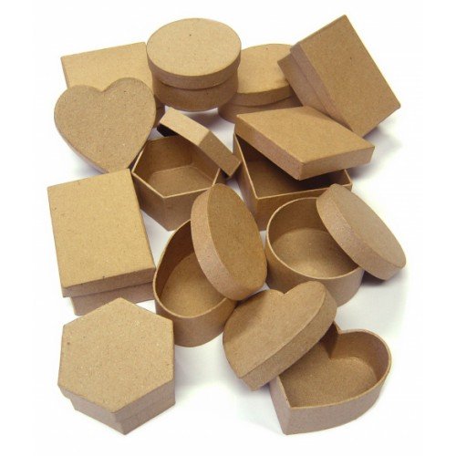 School Paper Mache Boxes Assorted 35x80mm [Pack 12]