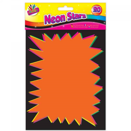 School Neon Flash Stars 20x15cm Assorted [Pack 20]