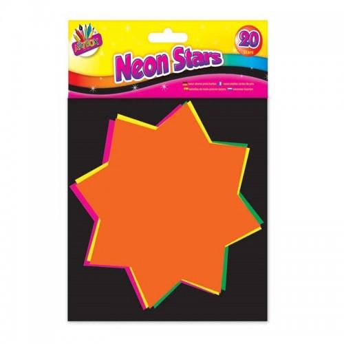 School Neon Stars 15x15cm Assorted [Pack 20]