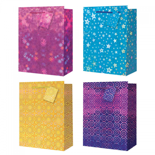 School Holographic Bags With Handles 230x180x100mm [Pack 12]