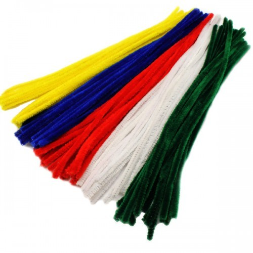 School Chenille Craft Stems / Pipe Cleaner Stems 300mm Assorted Colours [Pack 100]