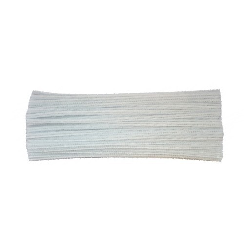 School Chenille Craft Stems / Pipe Cleaner Stems 300mm White [Pack 100]