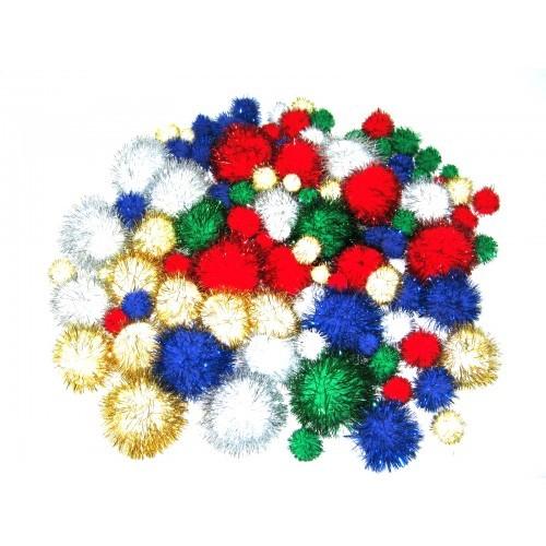 School Glitter Pom Poms Assorted [Pack 100]