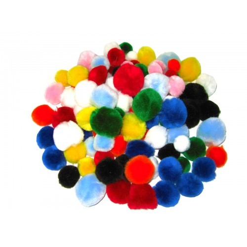 School Pom Poms Assorted [Pack 500]