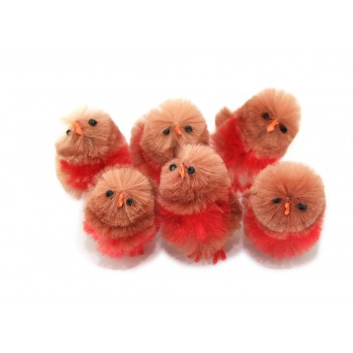 School Miniature Fluffy Robins [Pack 6]