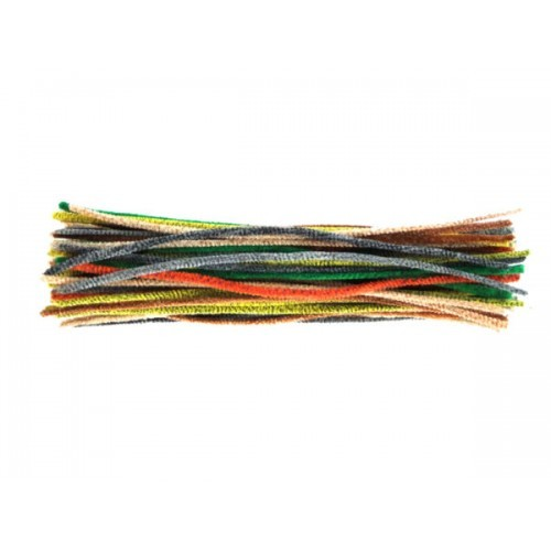 School Chenille Craft Stems / Pipe Cleaner Stems 300mm Animal Stripes [Pack 100]