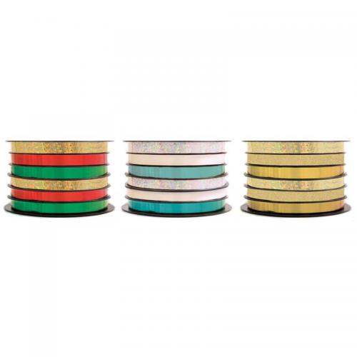 School Foil Ribbon 5mmx5m - 6 Ribbons Per Spool [Pack 3]