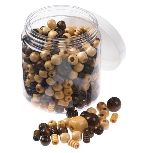School Natural Light & Dark Wooden Beads Assorted 100g [Pack 1]