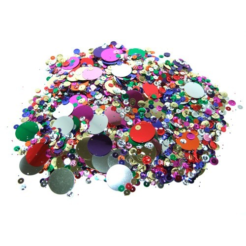 School Round Sequins Assorted 500g [Pack 1]