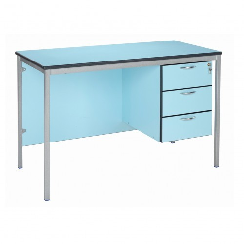 School Teachers Desk Rectangular 1200x600mm 720mm Height Fully Welded Frame MDF Bullnose Edge + 3 Drawer Pedestal