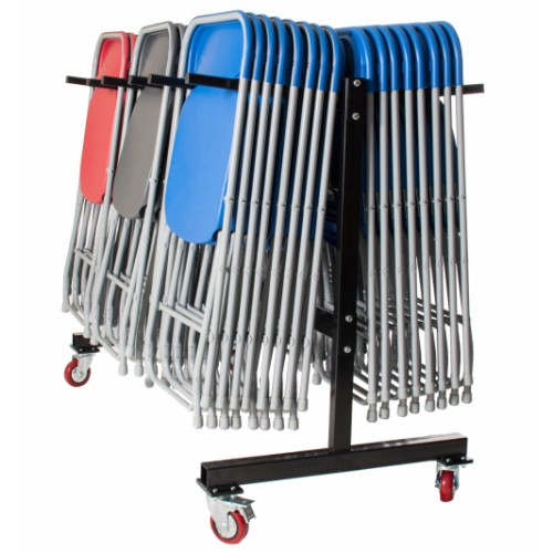 60 Straight Back Folding Chairs & Storage Trolley