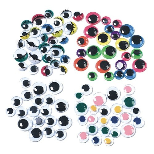 School Wiggly Eyes Assorted Black/Coloured/Bright/Eyelash [Pack 500]