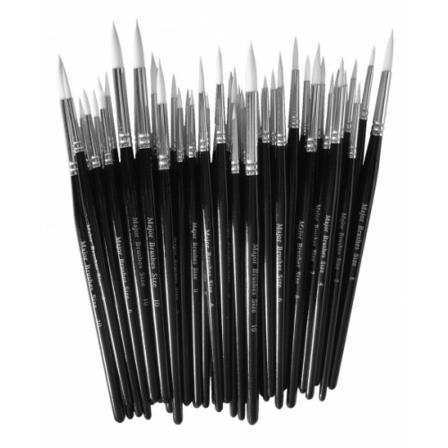 School Sable Substitute Brushes Assorted Sizes (10 each of 0,2,4,6 & 5 each of 8,10) [Pack 50]