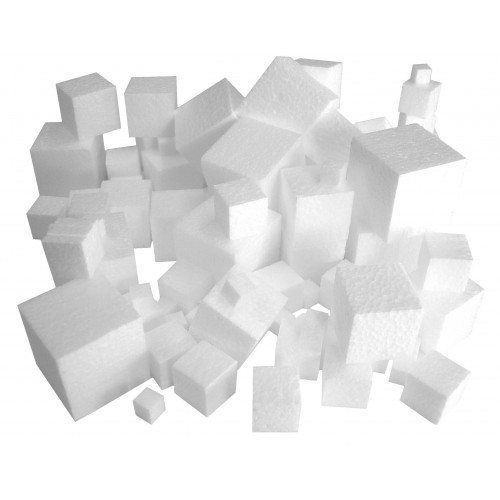 School Polystyrene Cubes 10,20,30,40mm Assorted [Pack 100]