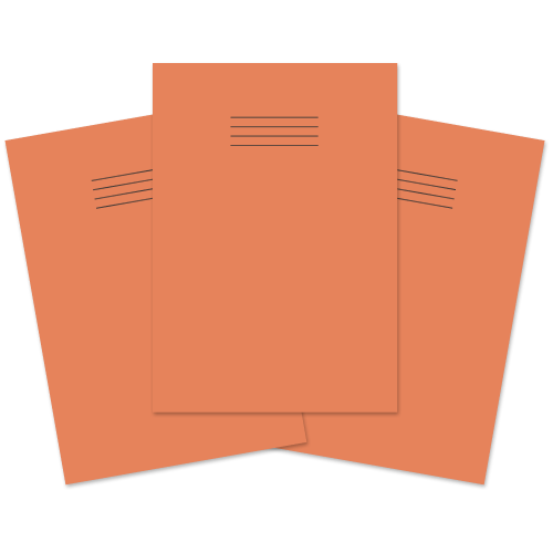 School Exercise Book A4 80 Pages 8mm Ruled & Margin Orange [Pack 50]