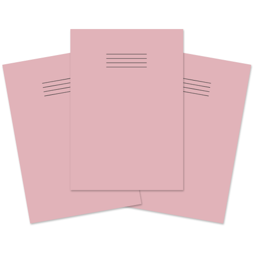 School Exercise Book A4 80 Pages 8mm Ruled & Margin Pink [Pack 50]