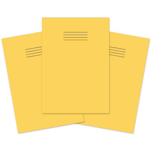 School Exercise Book A4 80 Pages 8mm Ruled & Margin Yellow [Pack 50]