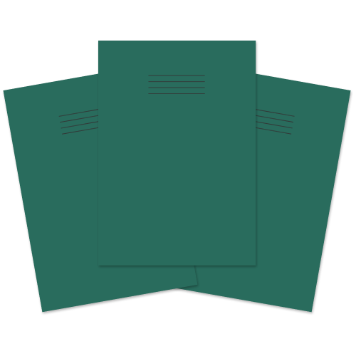 School Exercise Book A4 80 Pages Plain & 8mm Ruled Alternative Dark Green [Pack 50]
