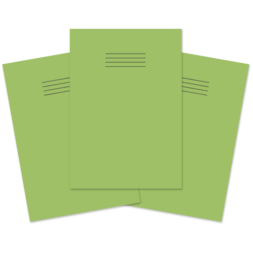 School Exercise Book A4 80 Pages Plain & 8mm Ruled Alternative Light Green [Pack 50]