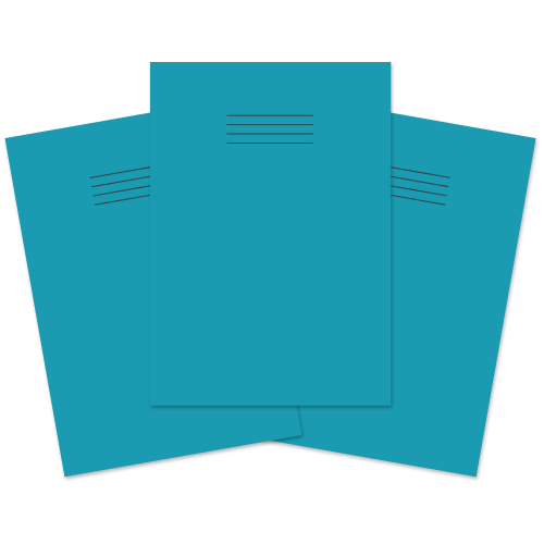 School Exercise Book A4 64 Pages 8mm Ruled & Margin Light Blue [Pack 50]