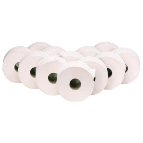 School Mini Jumbo Toilet Rolls Two-Ply White 90mm(w) x 200m(l) x 76mm(cd) x 200mm(d) [Pack 12]