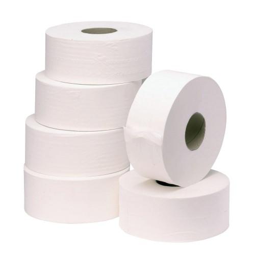 School Jumbo Toilet Rolls Two-Ply White 90mm(w) x 400m(l) x 76mm(cd) x 280mm(d) [Pack 6]