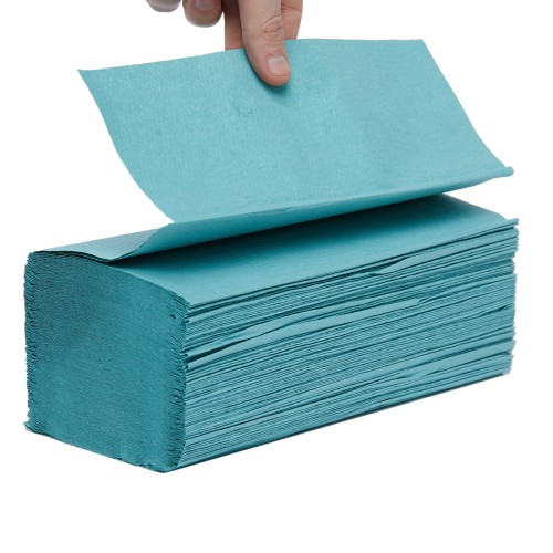 School Hand Towels V-Fold One-ply Green 190x250mm [Pack 3600]