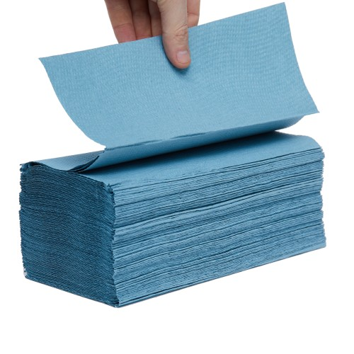 School Hand Towels V-Fold One-ply Blue 190x250mm [Pack 3600]