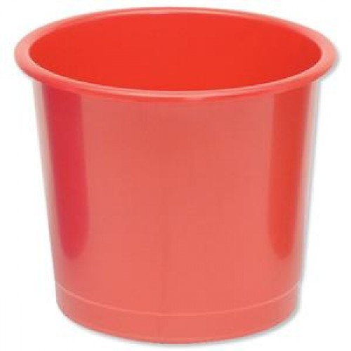 School Waste Bin / Bucket 14 Litre Red [Pack 1]