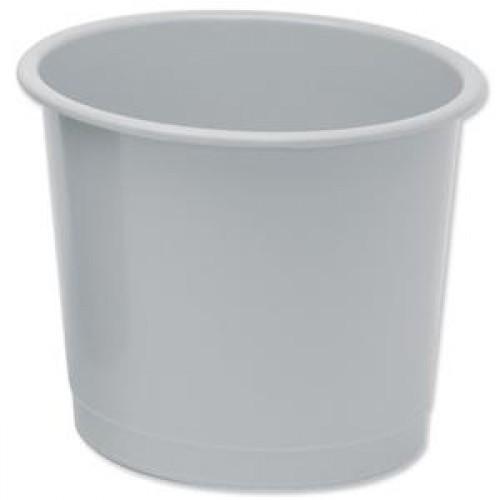 School Waste Bin / Bucket 14 Litre Grey [Pack 1]