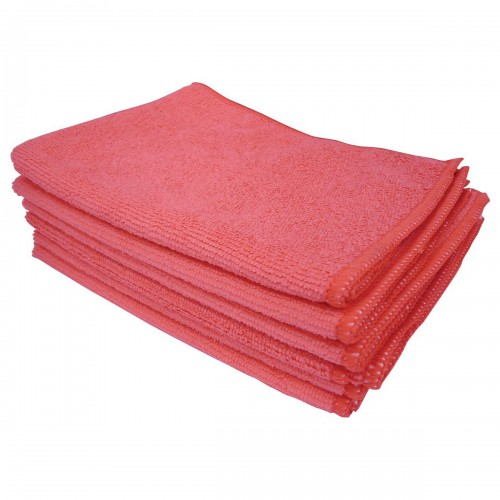 School Microfibre Cleaning Cloths Red [Pack 10]