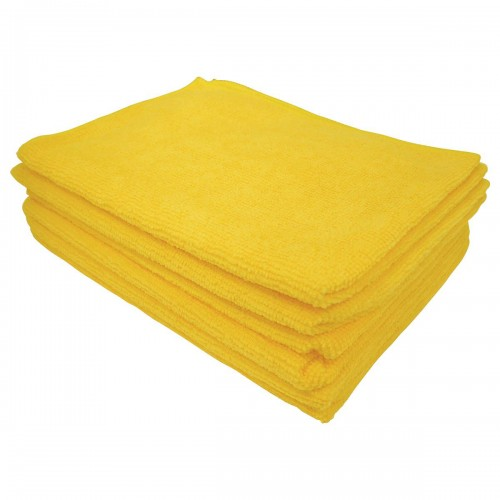 School Microfibre Cleaning Cloths Yellow [Pack 10]