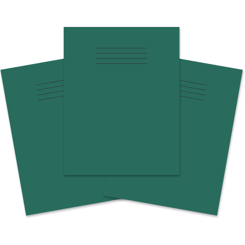 School Exercise Book 9x7 80 Pages 8mm Ruled & Margin Dark Green [Pack 100]