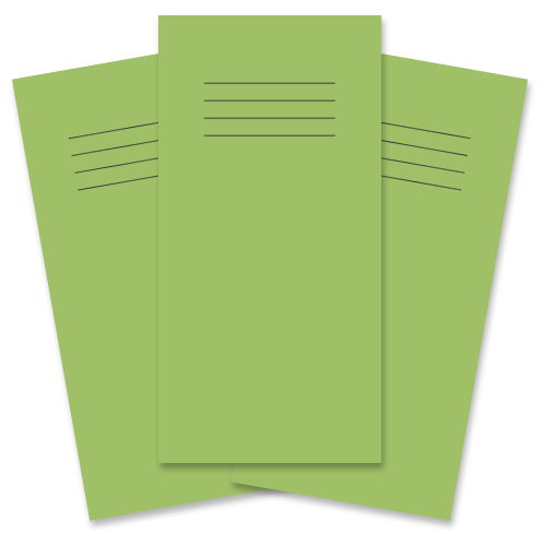 School Exercise Book 8x4 32 Pages Plain Unruled Light Green [Pack 100]