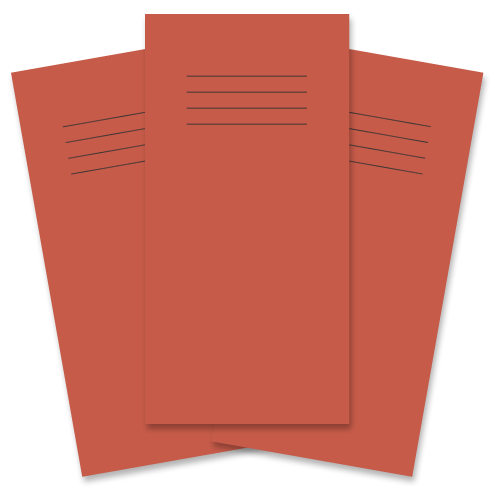 School Exercise Book 8x4 32 Pages 12mm Ruled Red [Pack 100]