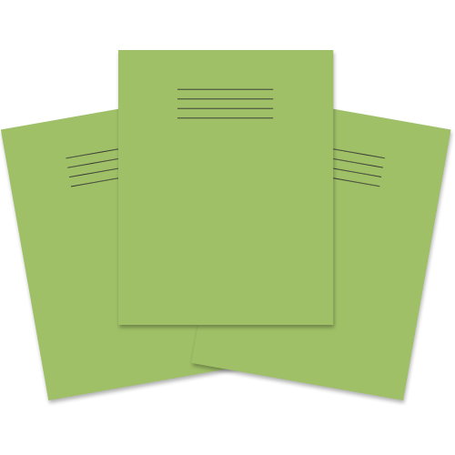 School Exercise Book 9x7 48 Pages 8mm Ruled & Margin Light Green [Pack 100]
