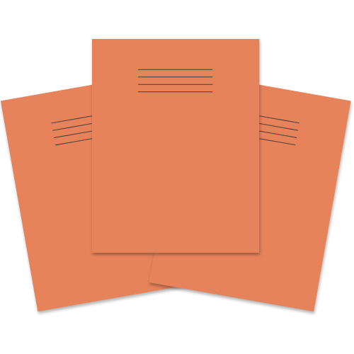 School Exercise Book 9x7 48 Pages 8mm Ruled & Margin Orange [Pack 100]
