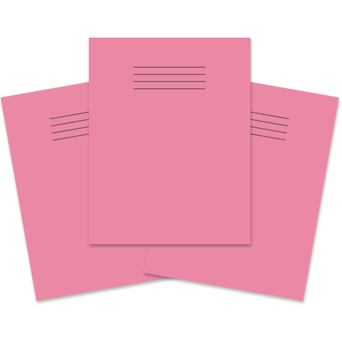 School Exercise Book 9x7 48 Pages 8mm Ruled & Margin Pink [Pack 100]