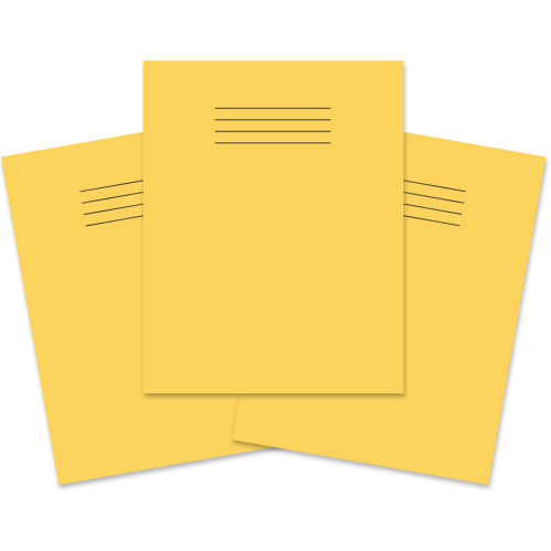 School Exercise Book 9x7 48 Pages 8mm Ruled & Margin Yellow [Pack 100]