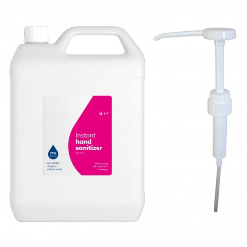 School Hand Gel Sanitiser 70% Alcohol 5 Litre + FREE 5ml Dose Pelican Pump [Pack 1]