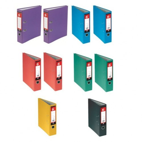 School Lever Arch File A4 Paper-On-Board Assorted Colours [Pack 10]