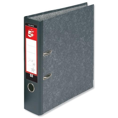 School Lever Arch File A4 Paper-On-Board Cloudy Grey [Pack 10]