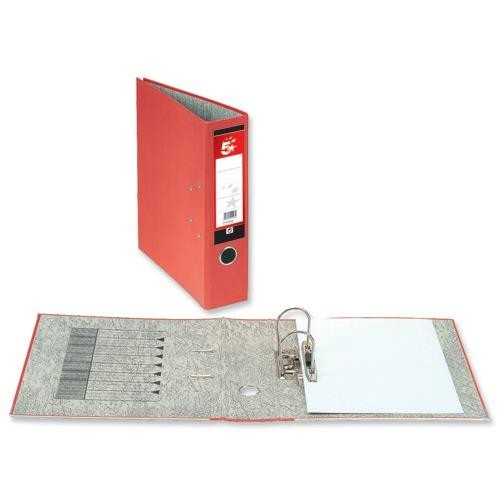 School Lever Arch File A4 Paper-On-Board Red [Pack 10]