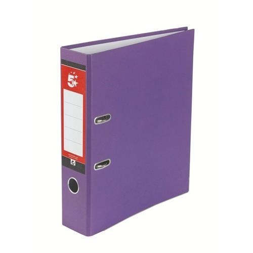 School Lever Arch File A4 Paper-On-Board Purple [Pack 10]