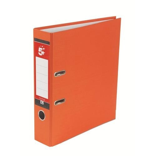 School Lever Arch File A4 Paper-On-Board Orange [Pack 10]